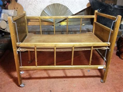 Crib On Bed Vintage Wood Doll Crib Bed Drop Side Tiger Decal On Wheels Vgvc Ebay