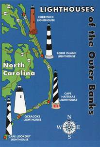 lighthouses map outer banks lighthouses state map cape hatteras