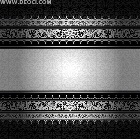 silver layout vector silver ornate pattern card background design template