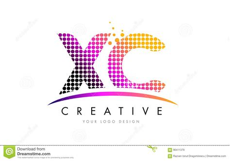 Xc Business Letter xc x c letter logo design with magenta dots and swoosh