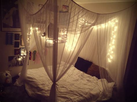 Diy Bedroom Lighting Ideas Bedroom With Lighted Canopy Bedroom Canopy Twinkle Lights Touch Of Pinterest