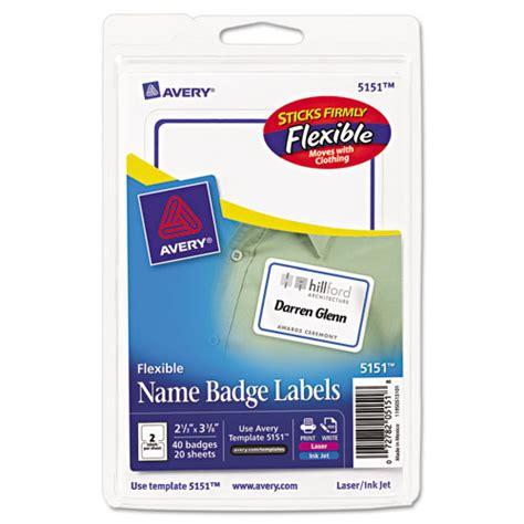 Avery 5151 Flexible Self Adhesive Name Badge Labels Avery Photo Id Badge Templates