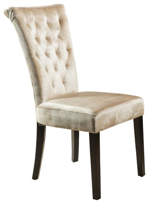 Transitional Dining Chairs Dining Chairs Set Of 2 Chagne Velvet Transitional Dining Chairs By Great