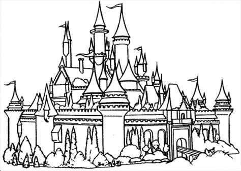 Castle And Princess Coloring Pages disney princess castle drawings images