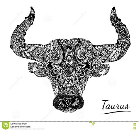 taurus zentangle of zodiac stock vector image 73632216