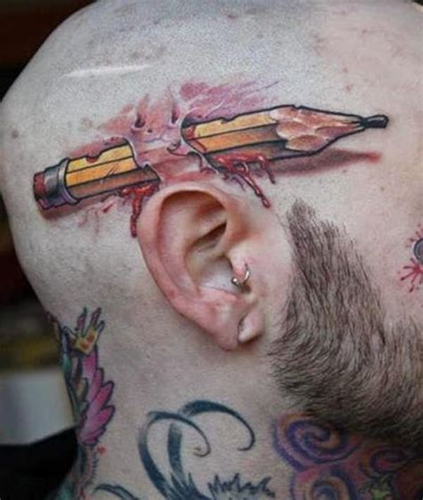 tattoo pen in ear 3d tattoos that will shock and amaze you