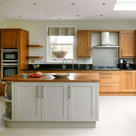 painted wood kitchen cabinets traditional kitchen with painted grey and plain wood units kitchen decorating housetohome co uk