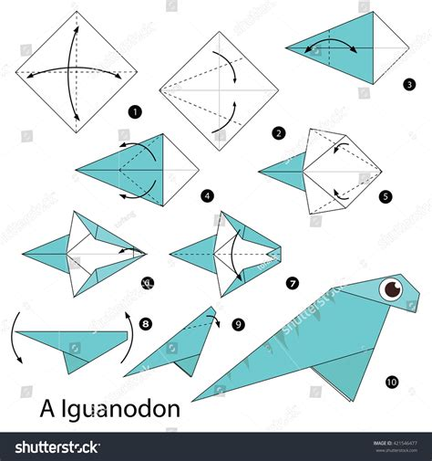 How To Make A Origami Dinosaur Step By Step - step by step how make stock vector 421546477