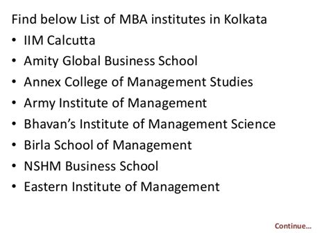 List Of Kolkata Mba Colleges by List Of Mba Institutes In Kolkata