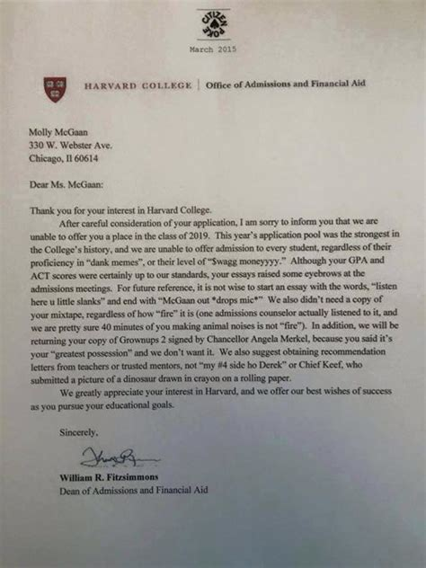 Boston Acceptance Letter 2015 Did Harvard Reject The Best College Application Randomoverload
