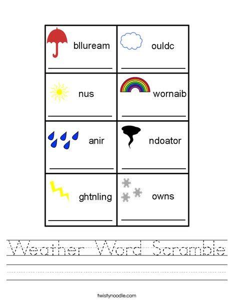Weather Word Scramble Worksheet   Twisty Noodle