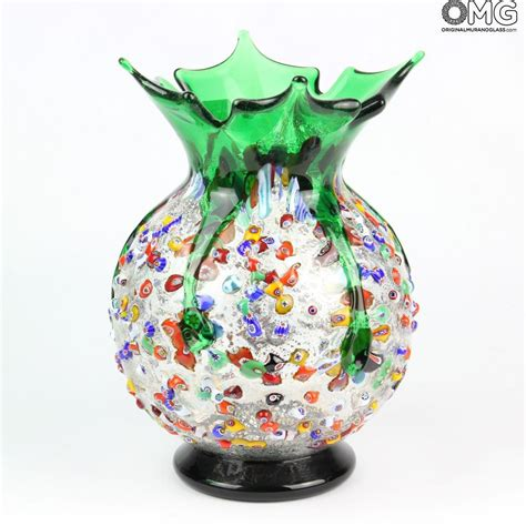 murano glass vase melody green flowers vase murano glass millefiori