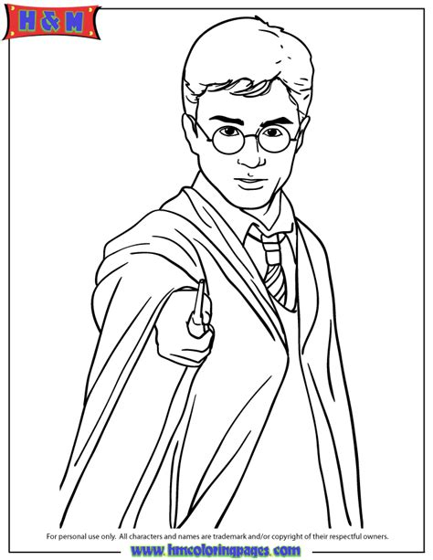 harry potter the coloring book harry potter holding magic wand coloring page h m