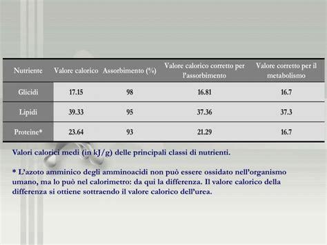 valori calorici alimenti ppt il fabbisogno energetico powerpoint presentation