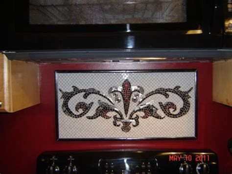 fleur de lis kitchen backsplash mosaic traditional