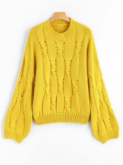 Navi Yellow Jumper 2017 cable knit drop shoulder jumper sweater yellow sweaters one size zaful