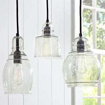 farmhouse pendant lighting kitchen black fabric chords blown glass 8 light hanging pendant