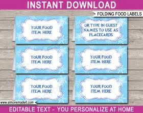 frozen party food labels place cards winter theme