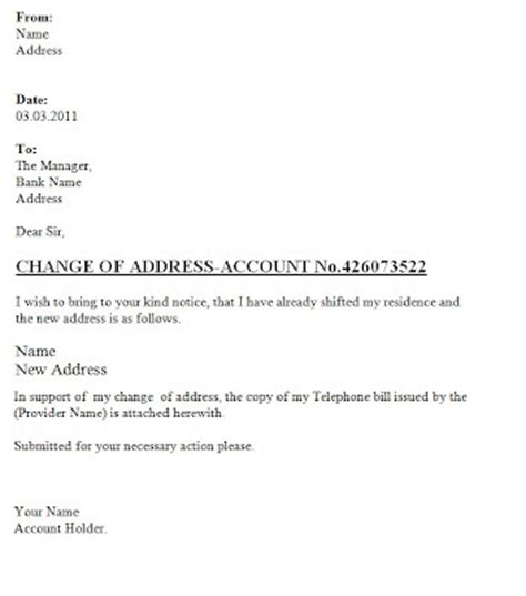 Change Of Bank Branch Letter Format Change Of Address Letter To The Bank Template Sle