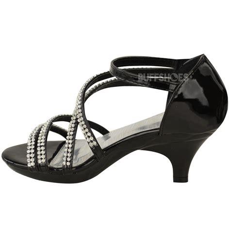 New Girls Kids Low Heel Wedding Diamante Sandals