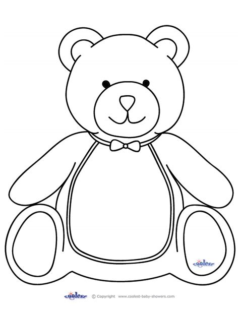 cut out teddy template free printable baby shower coloring pages az coloring pages