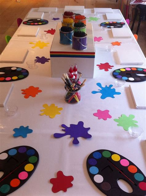 art themed events art table display party like a kid little picasso