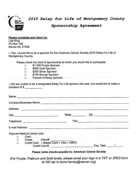 sponsorship agreement sle sponsor thank you letter