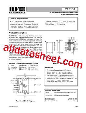 datasheet of rf diode rf3133 datasheet pdf rf monolithics inc