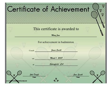 badminton certificate template the world s catalog of ideas