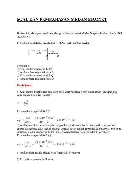 contoh soal transistor efek medan soal dan pembahasan medan magnet