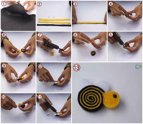 cara membuat brooch zip cara membuat bros lebah dari kain flanel handy craft