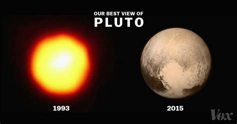 new images of pluto pluto pictures in 1993 compared to new horizon s pictures