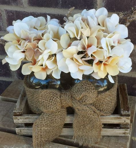Nice Flower Vases Mason Jar Burlap Hydrangea Centerpiece Rustic Wedding