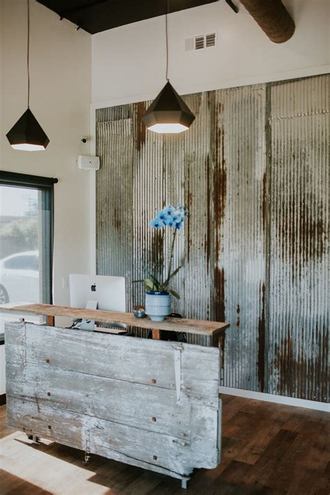 idea for wood metal mix decorations barn door reception desk made with reclaimed wood and