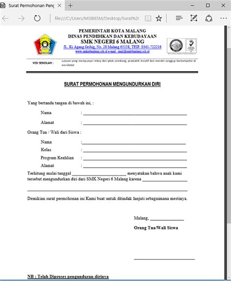 format surat pengunduran diri siswa contoh surat permohonan pengunduran diri siswa word