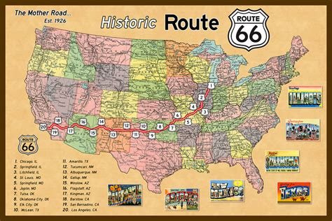 map of route 66 usa fotogallerij