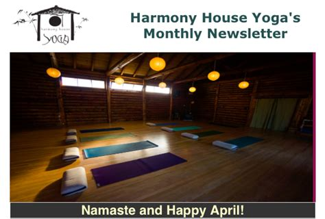 April Newsletter Harmony House