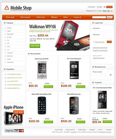 free html shop template free mobile store virtuemart template