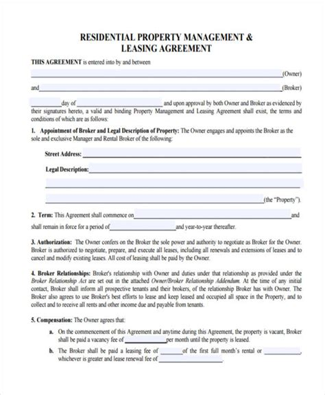 rental management agreement template 58 management agreement exles and sles