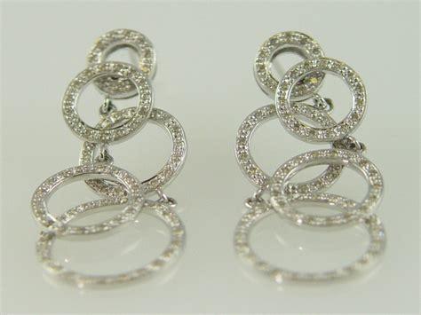 14KT White Gold Diamond 1.00ct circle Dangle Earring