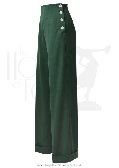 swing pants 1940s high waist swing pants in british racing green
