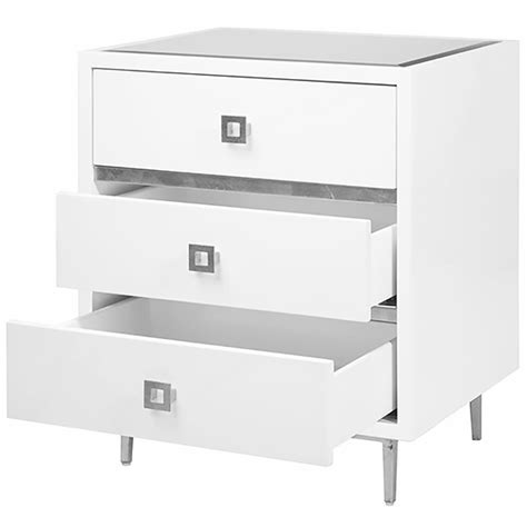 White And Silver Nightstand Bartok Regency White Lacquer Silver Leaf Nightstand