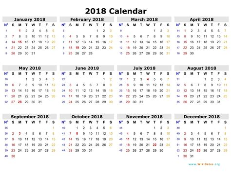 printable year calendar 2018 with holidays free 2018 calendar in printable format blank templates