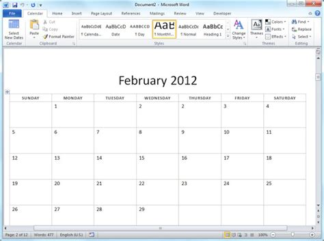 12 month calendar template word 2012 12 month basic calendar
