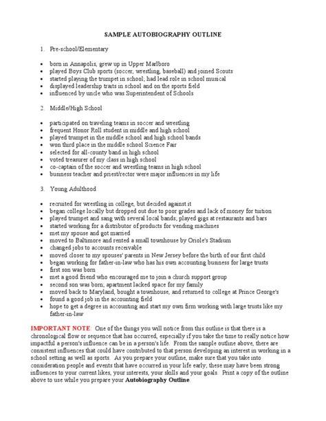 Autobiography - Sample Outline | Secondary School | Schools