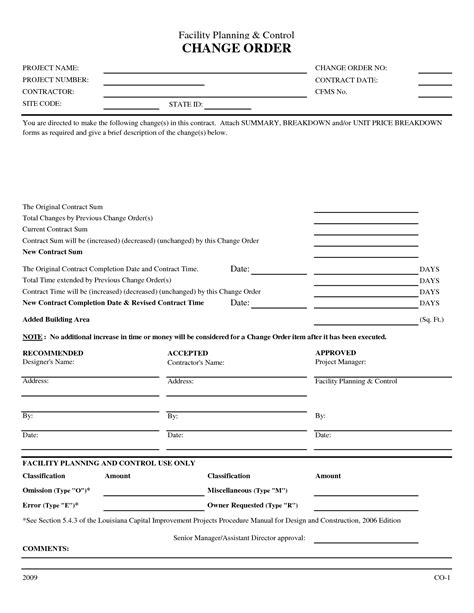 construction change order form template construction change order form