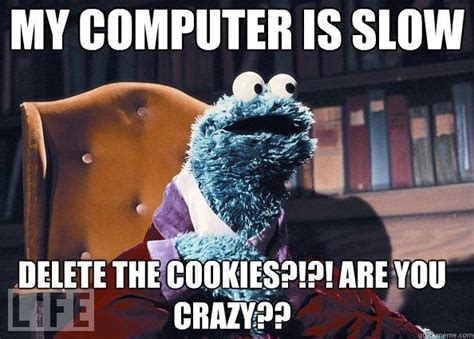 Computer Problems Meme - cookie monster has a slow computer hilarity pinterest