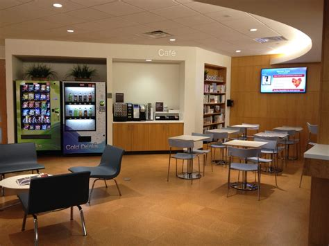 New self service café features laptop plug in stations, soda and snack vending, a Keurig coffee