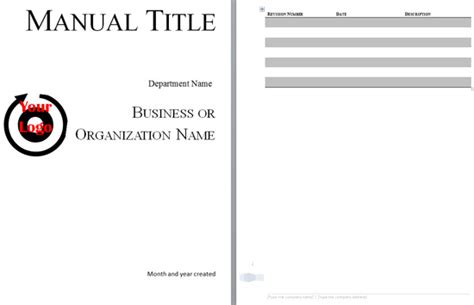 manual cover template 5 free manual templates excel pdf formats
