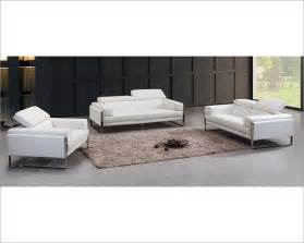 contemporary white leather sofa set 44l5977 - Contemporary Sofa Sets